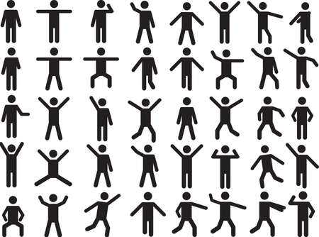 cooperate: Set of active human pictogram illustrated on white background