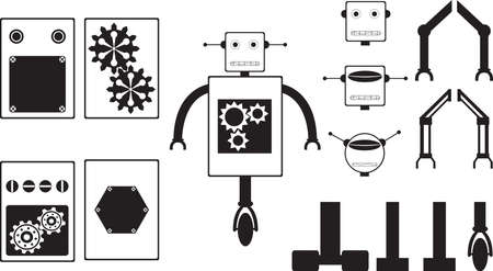 metal legs: Robot parts illustrated on white