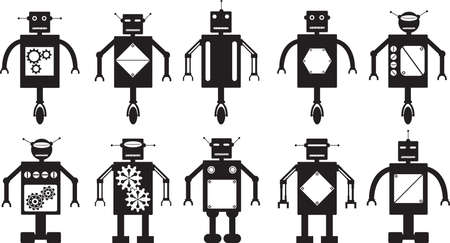 metal legs: Robots collection illustrated on white