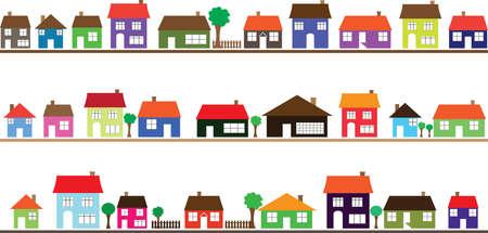 白のカラフルな家と近所  イラスト・ベクター素材
