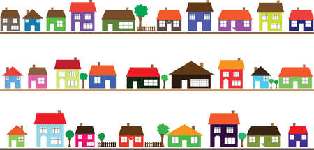 Neighborhood with colorful homes illustrated on white