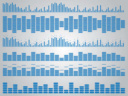 Set of blue music equalizer illustrated on white Vector
