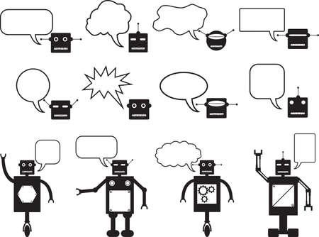 talking robot: Conjunto de robots y la cabeza robot parlante ilustrado en blanco