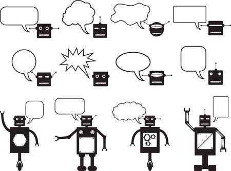 talking robot: Set of robots and robot head talking illustrated on white