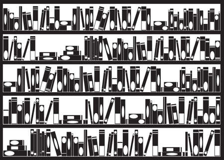 bibliography: Books arranged on shelves illustrated on white