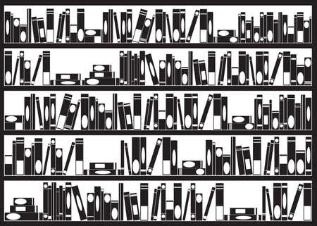 arranged: Books arranged on shelves illustrated on white