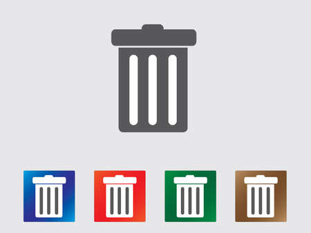 garbage collection: Garbage bin icon collection