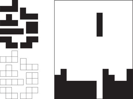 Tetris game and pieces illustrated on white