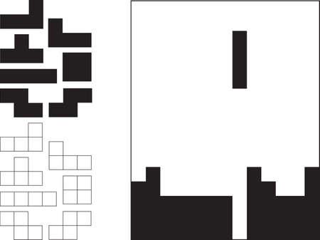 tetris: Tetris game and pieces illustrated on white