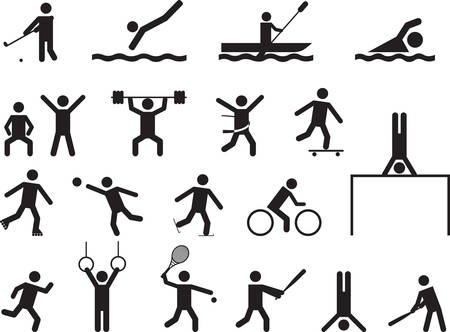 Pictogram people doing sport activities illustrated on white Illustration