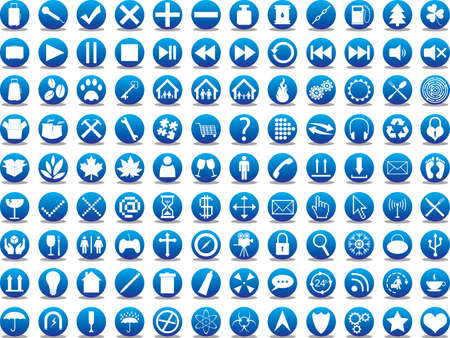 Blue icon collection illustrated on white Illustration