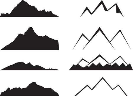 白に示す山のシルエット  イラスト・ベクター素材