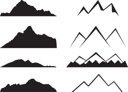Mountains silhouette illustrated on white