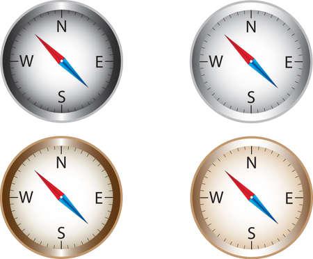 collecte de Compass illustré sur blanc Vecteurs