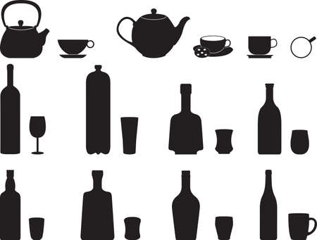 specific: Bottles with specific glasses illustrated on white