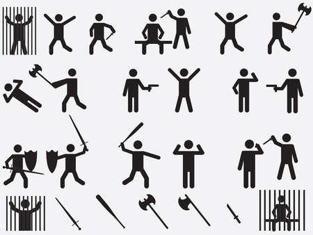 致命的な武器セット図を持つ人々