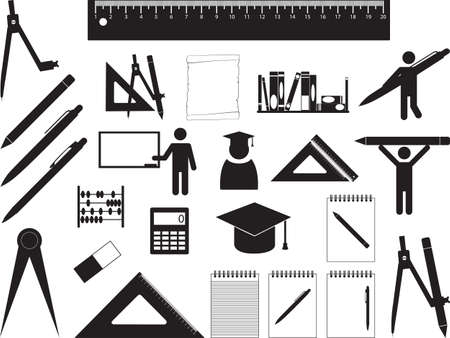 School and education elements illustrated on white