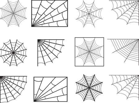 Spider web illustrée sur blanc Vecteurs