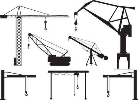 construction crane: Set of cranes illustrated on white Illustration