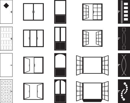 wood window: Door and window silhouettes illustrated on white