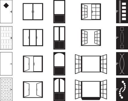 ventana abierta interior: Siluetas de puertas y ventanas ilustradas en blanco