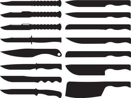 illustrated: Knives collection illustrated on white