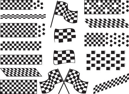 race start: Race flags isolated on white background Illustration