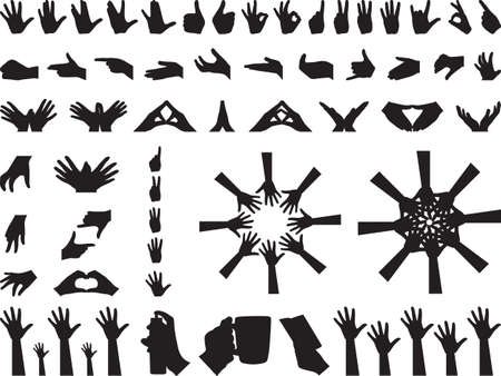 hold hands: Different hand gestures illustrated on white