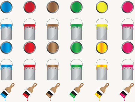 colors paint: Paint cans and brushes in different colors illustration