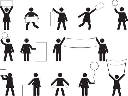 Set of woman pictograms holding different blank banners Vector