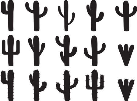 Cactus silhouettes illustrated on white