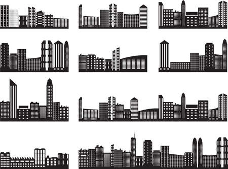City landscapes illustrated on white Vector