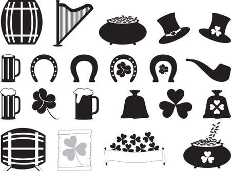 lucky bag: Saint Patrick objects illustrated on white