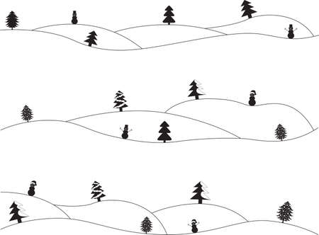 heals: Simple Christmas landscapes illustrated on white Illustration