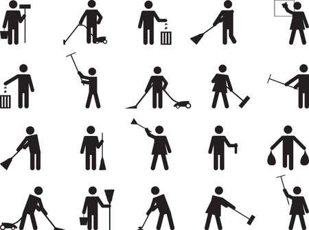 Persone pittogramma pulizia illustrati su bianco