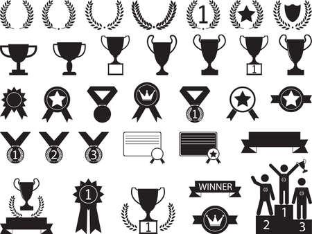 illustrated: Award symbols illustrated on white