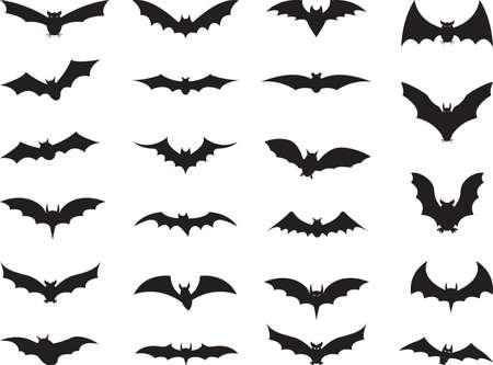 Kolekcja Nietoperze samodzielnie na białym tle Ilustracje wektorowe