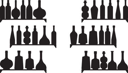 Shelves with booze isolated on white Vector