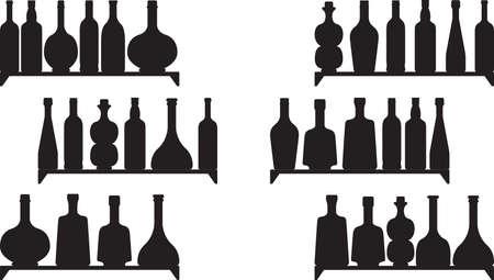 booze: Shelves with booze isolated on white