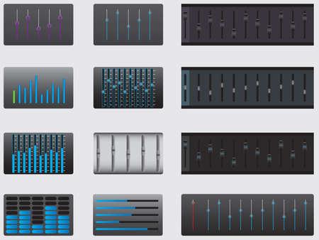 analyzer: Set of music equalizer illustrated on white Illustration