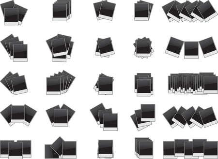 Set of photo frames illustrated on white background