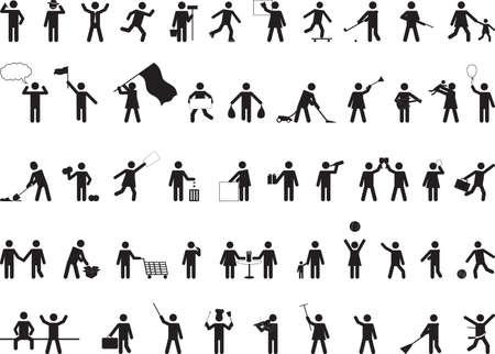 흰색에 고립 된 일반 픽토그램 사람들이 활동
