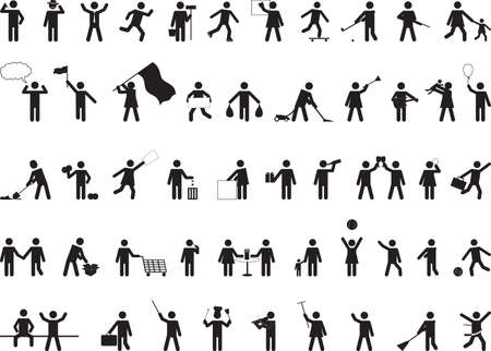 in common: Common pictogram people activities isolated on white