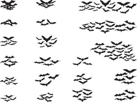 bate: Conjunto de murciélagos volando aislado en blanco