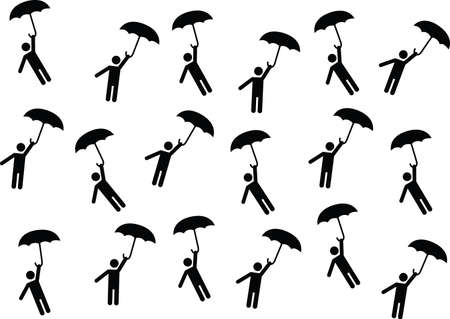 pictogram people: Pictogram people flying with umbrellas illustrated on white