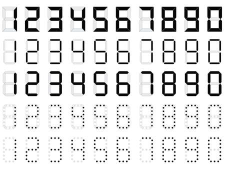 Simple digital numbers illustrated on white