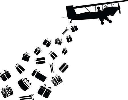 throwing: Plane throwing gifts illustrated on white Illustration