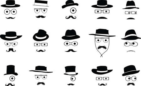 cowboy beard: Set of invisible faces with hats illustrated on white
