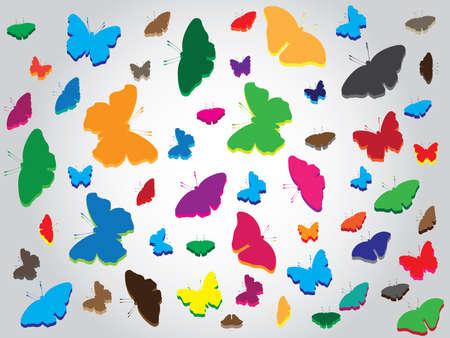 mariposas volando: Beautiful multicolor butterflies flying around background Vectores