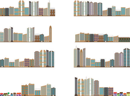 live work city: Set of colored city landscapes illustrated on white